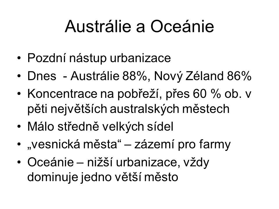 Austrálie a Oceánie Pozdní nástup urbanizace