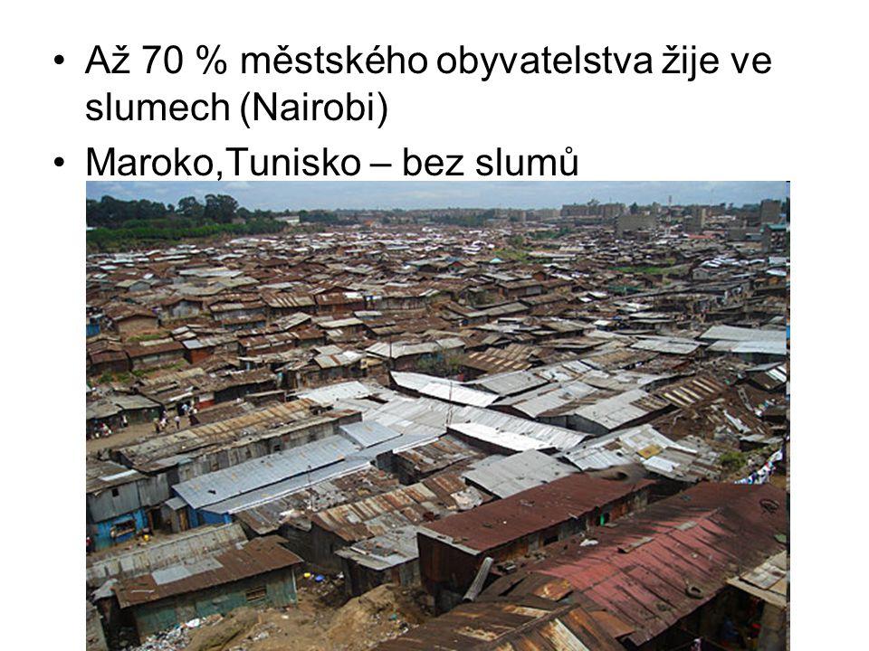 Až 70 % městského obyvatelstva žije ve slumech (Nairobi)