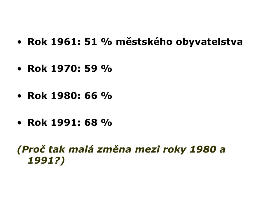 Rok 1961: 51 % městského obyvatelstva