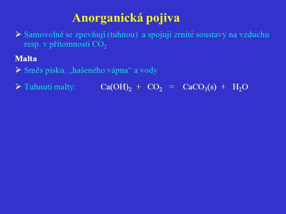Anorganická pojiva Samovolně se zpevňují (tuhnou) a spojují zrnité soustavy na vzduchu resp. v přítomnosti CO2.