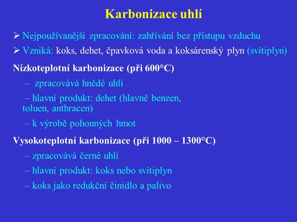 Karbonizace uhlí Nejpoužívanější zpracování: zahřívání bez přístupu vzduchu. Vzniká: koks, dehet, čpavková voda a koksárenský plyn (svítiplyn)