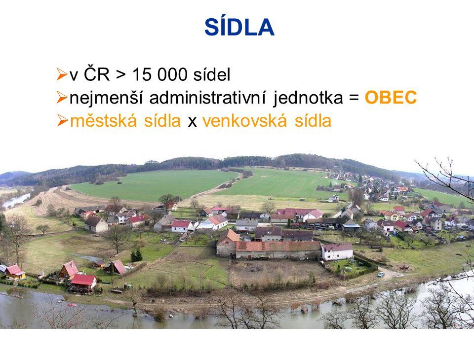 SÍDLA v ČR > 15 000 sídel nejmenší administrativní jednotka = OBEC
