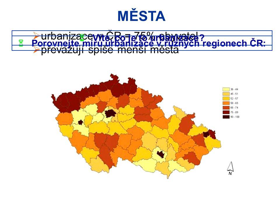 MĚSTA urbanizace v ČR = 75% obyvatel převažují spíše menší města