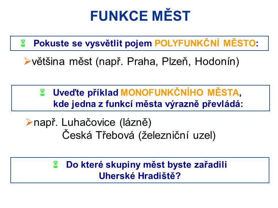 FUNKCE MĚST většina měst (např. Praha, Plzeň, Hodonín)