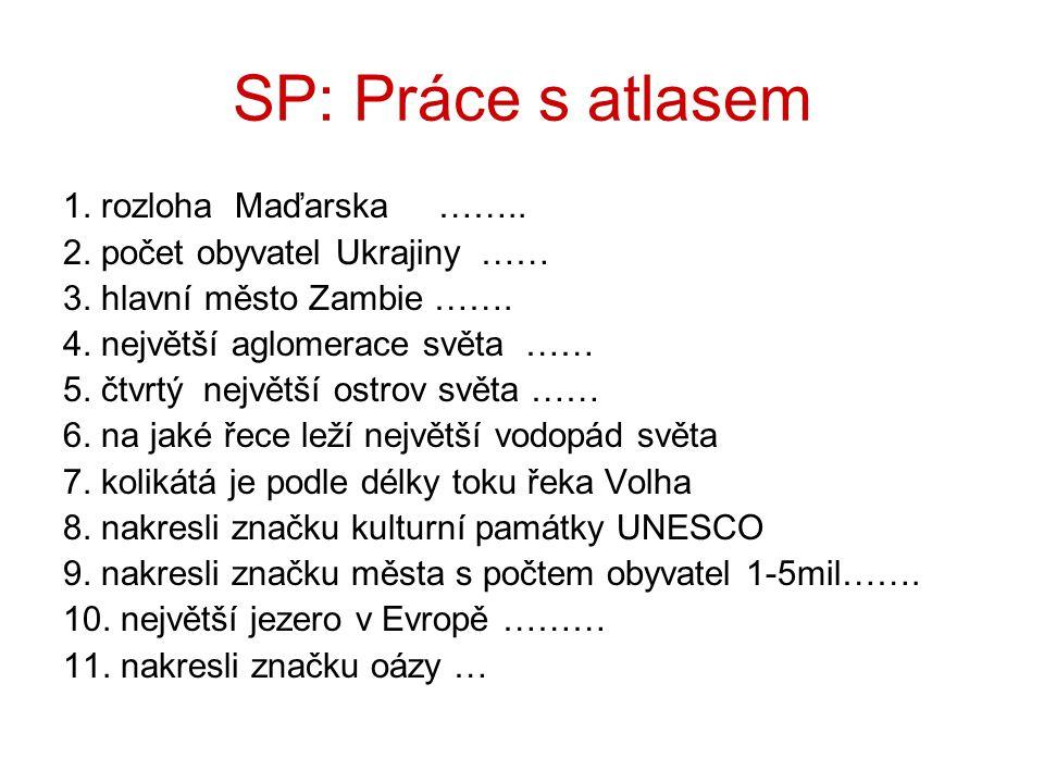 SP: Práce s atlasem 1. rozloha Maďarska ……..