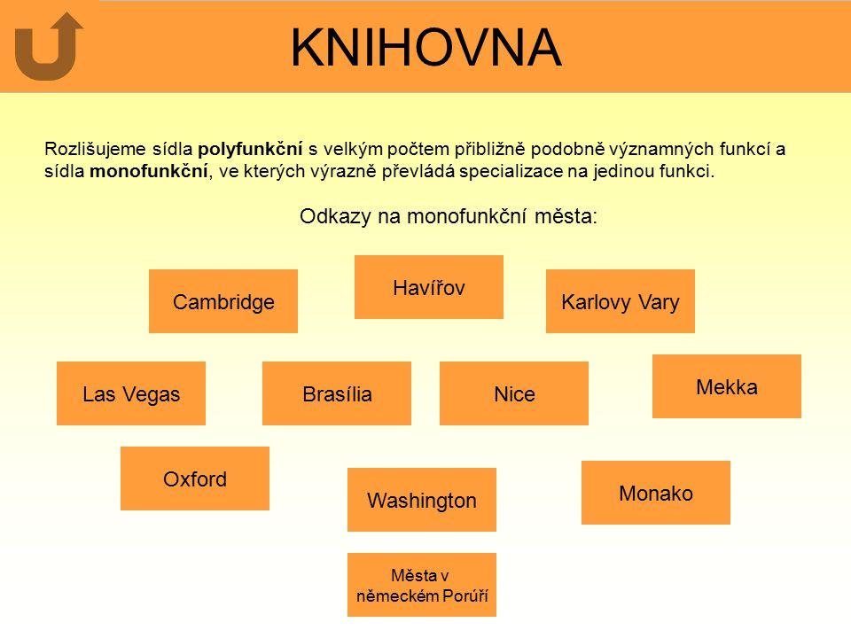 KNIHOVNA Odkazy na monofunkční města: Havířov Cambridge Karlovy Vary
