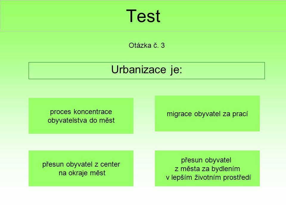 Test Urbanizace je: Otázka č. 3 proces koncentrace