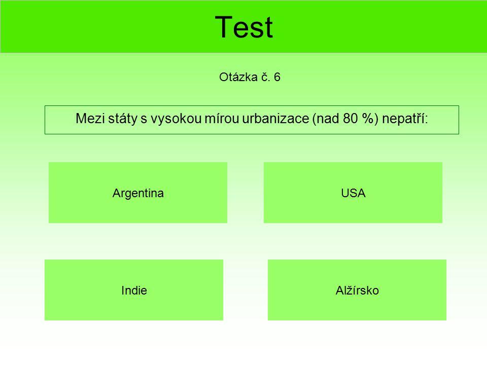 Test Mezi státy s vysokou mírou urbanizace (nad 80 %) nepatří: