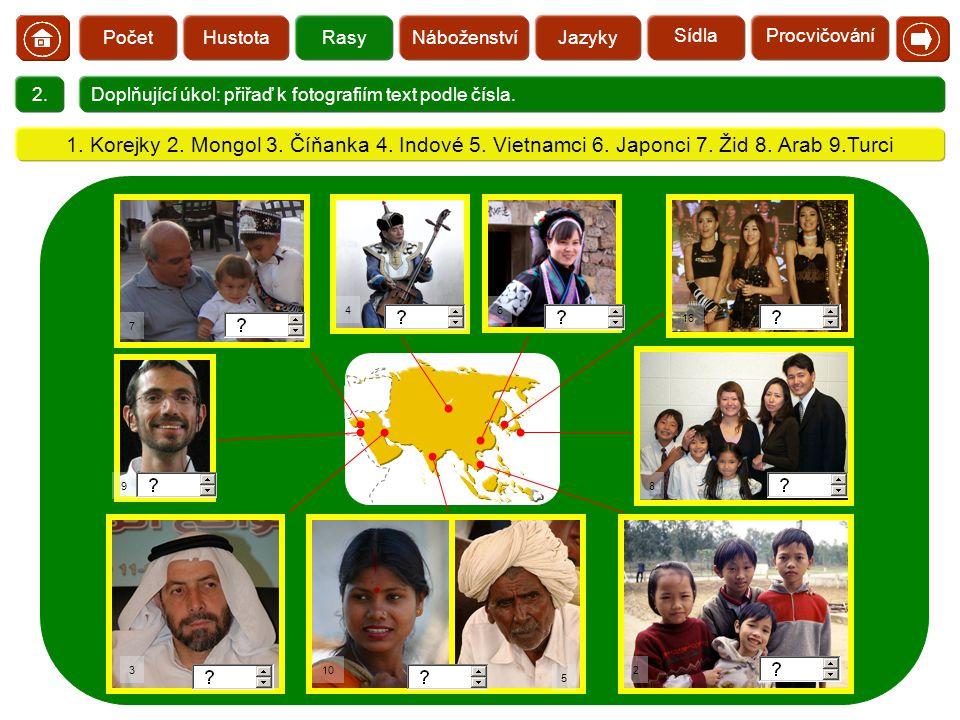 Počet Hustota. Rasy. Náboženství. Jazyky. Sídla. Procvičování.  2. Doplňující úkol: přiřaď k fotografiím text podle čísla.