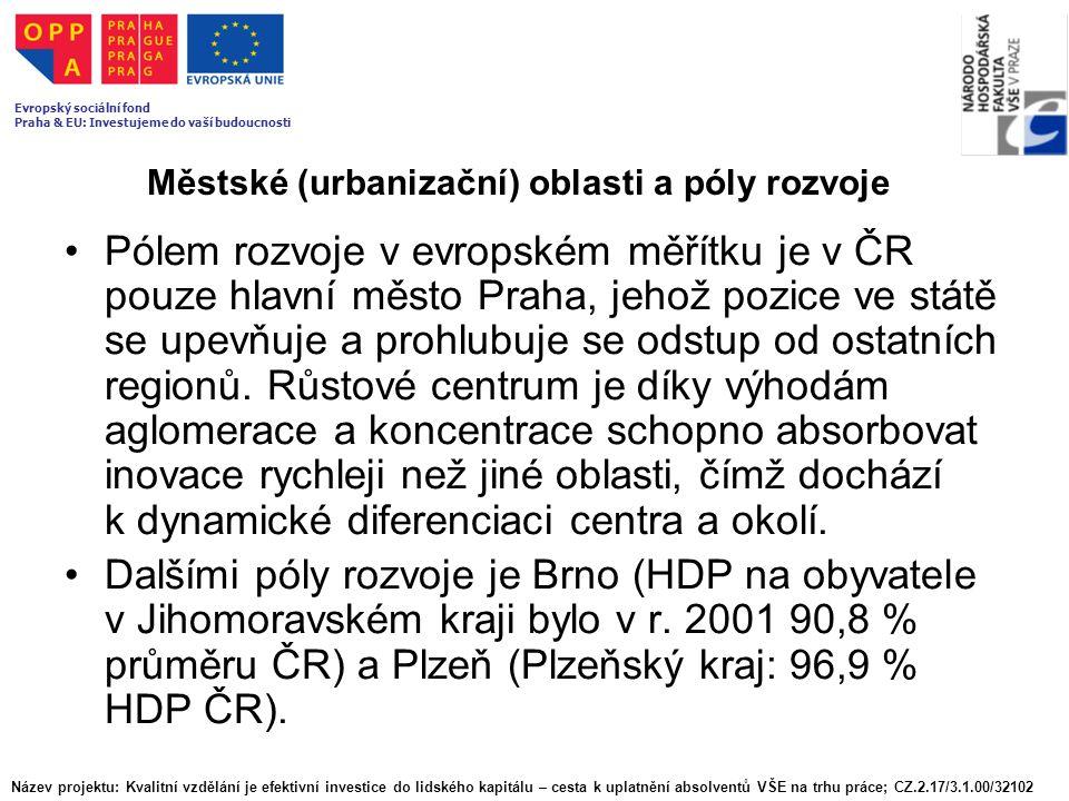 Městské (urbanizační) oblasti a póly rozvoje