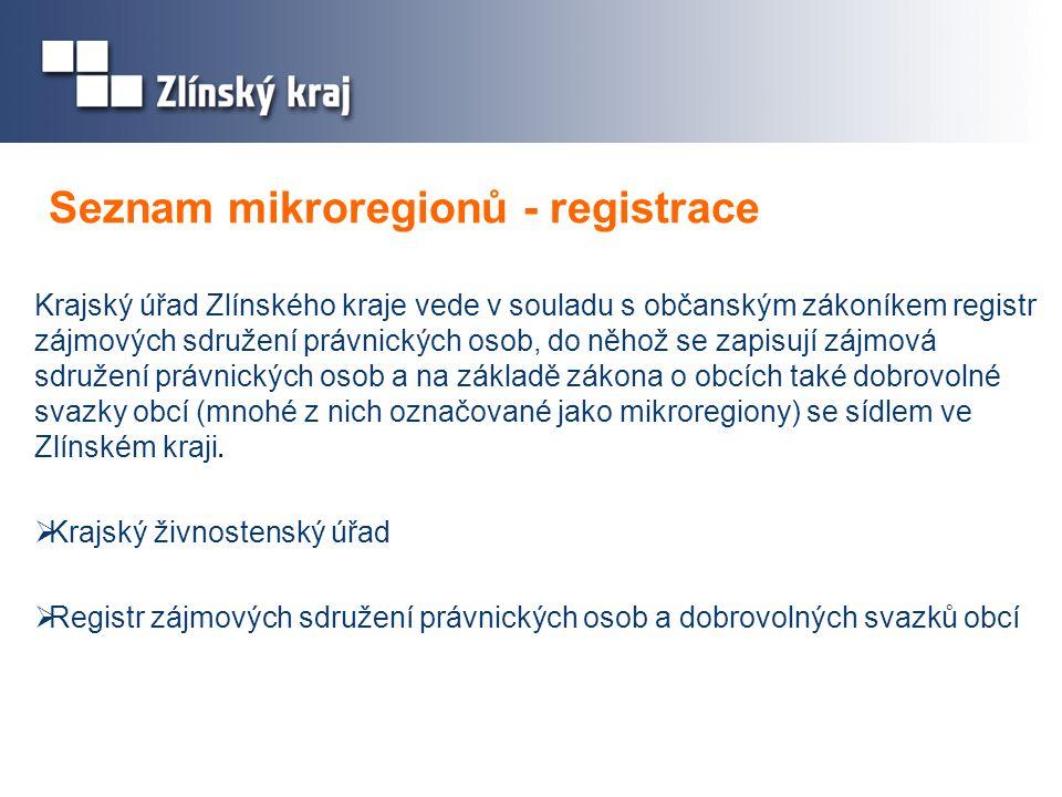Seznam mikroregionů - registrace