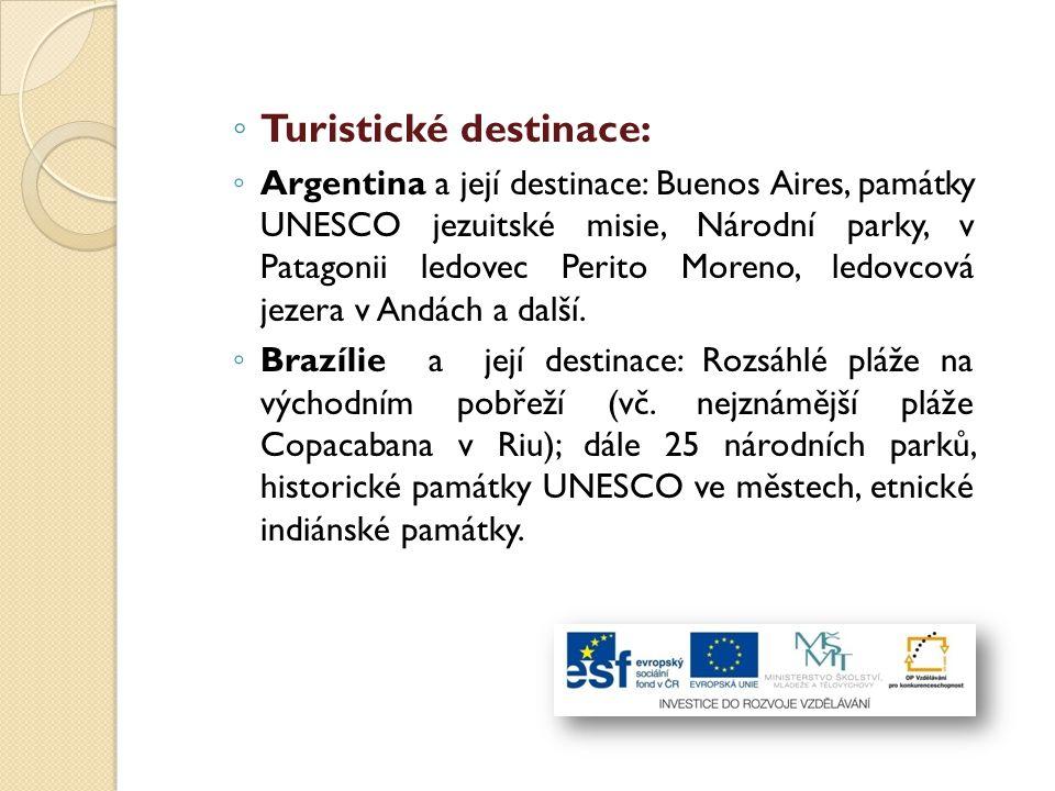 Turistické destinace: