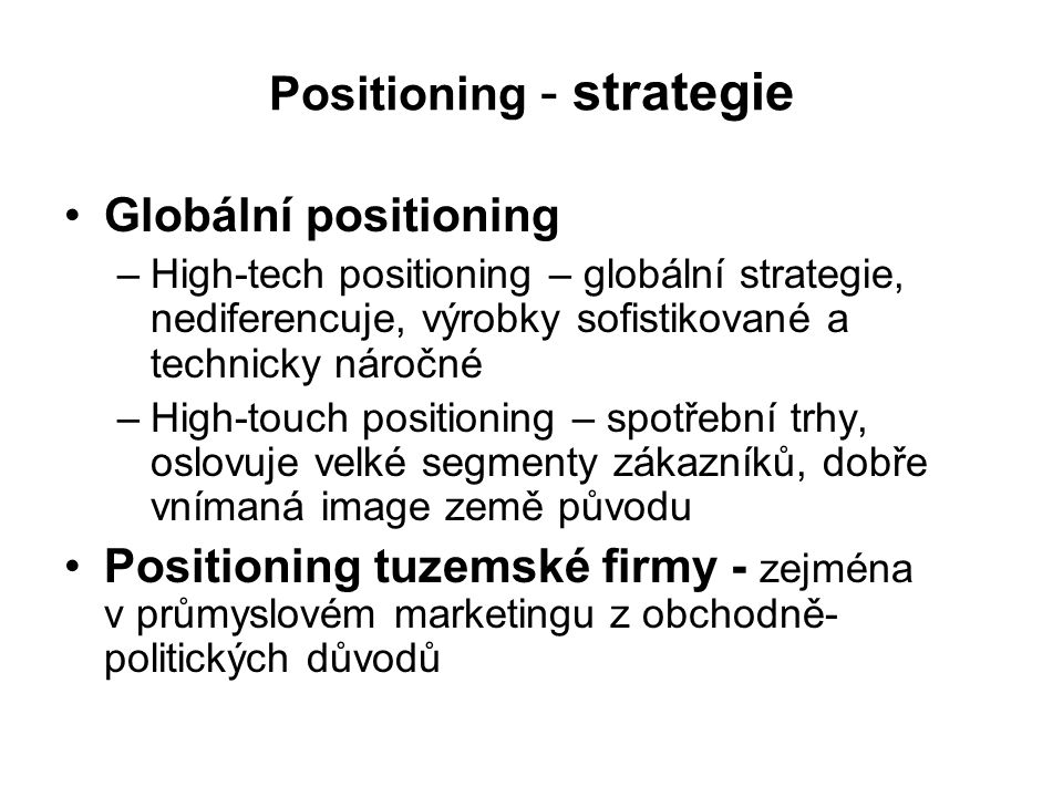 Positioning - strategie