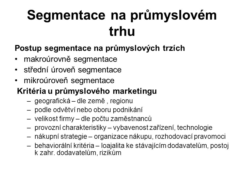Segmentace na průmyslovém trhu