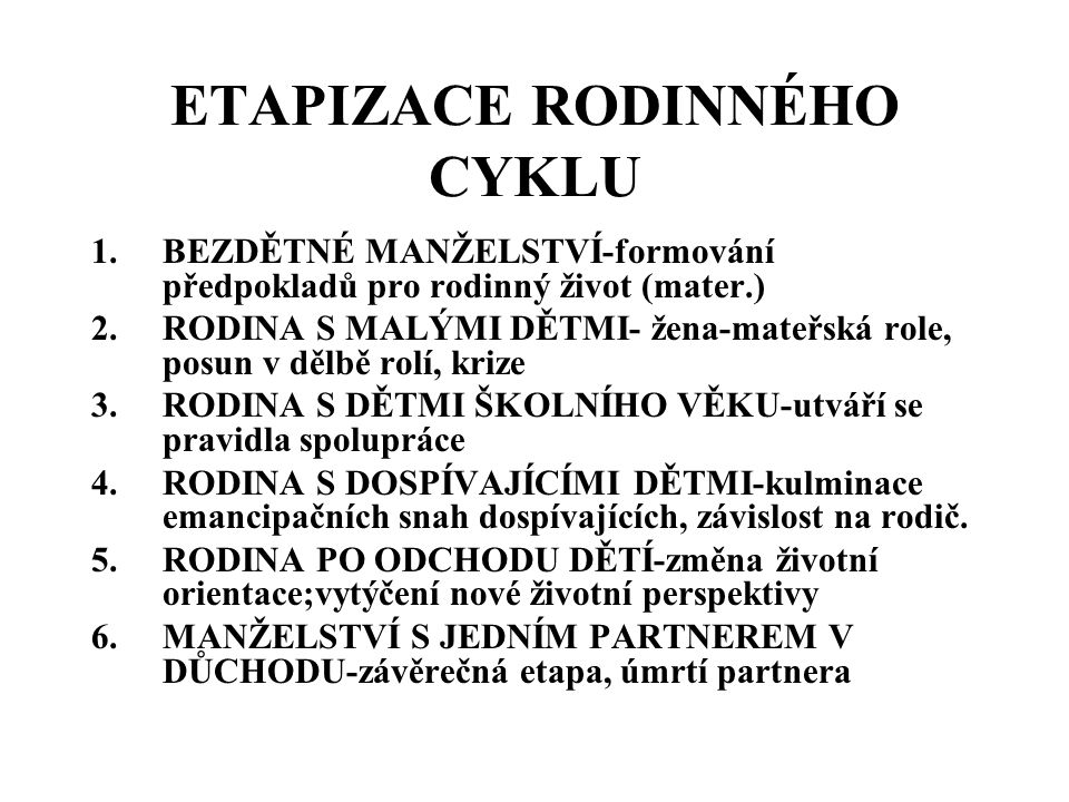 ETAPIZACE RODINNÉHO CYKLU