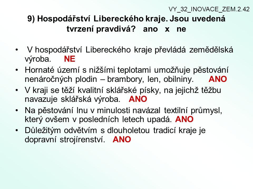 V hospodářství Libereckého kraje převládá zemědělská výroba. NE