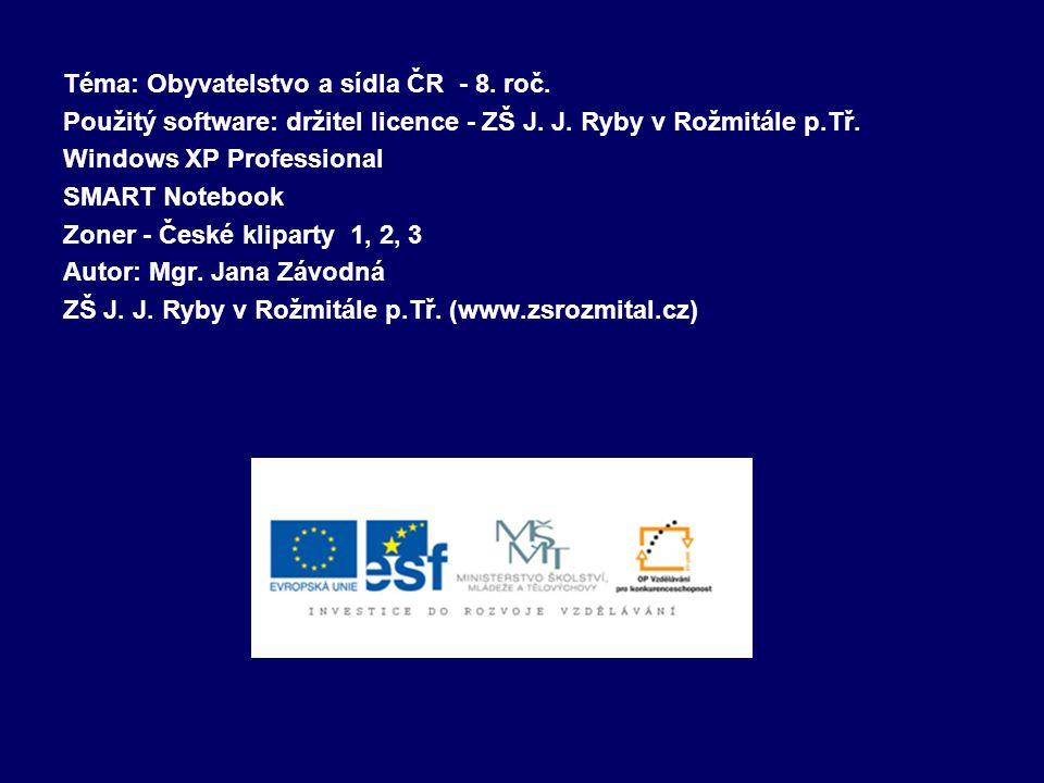 Téma: Obyvatelstvo a sídla ČR - 8. roč.