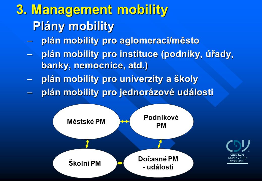 3. Management mobility Plány mobility