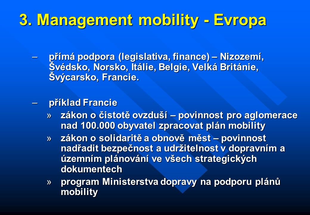 3. Management mobility - Evropa