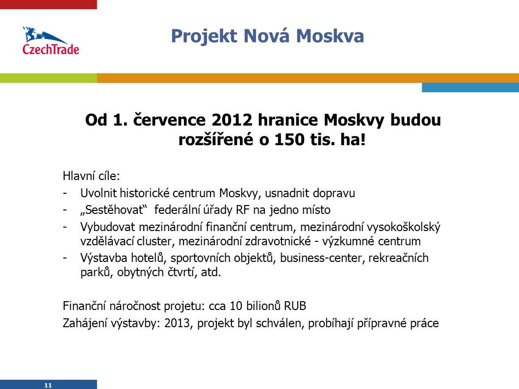 Od 1. července 2012 hranice Moskvy budou rozšířené o 150 tis. ha!