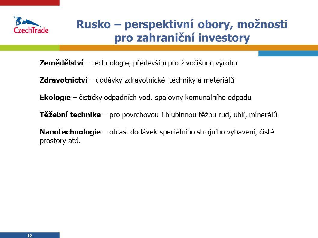Rusko – perspektivní obory, možnosti pro zahraniční investory