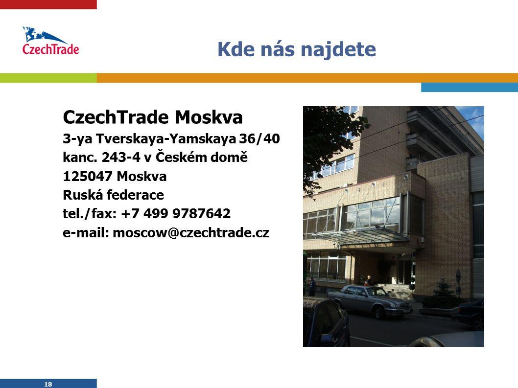 Kde nás najdete CzechTrade Moskva 3-ya Tverskaya-Yamskaya 36/40