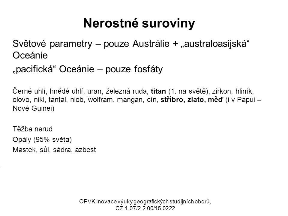 """Nerostné suroviny Světové parametry – pouze Austrálie + """"australoasijská Oceánie. """"pacifická Oceánie – pouze fosfáty."""