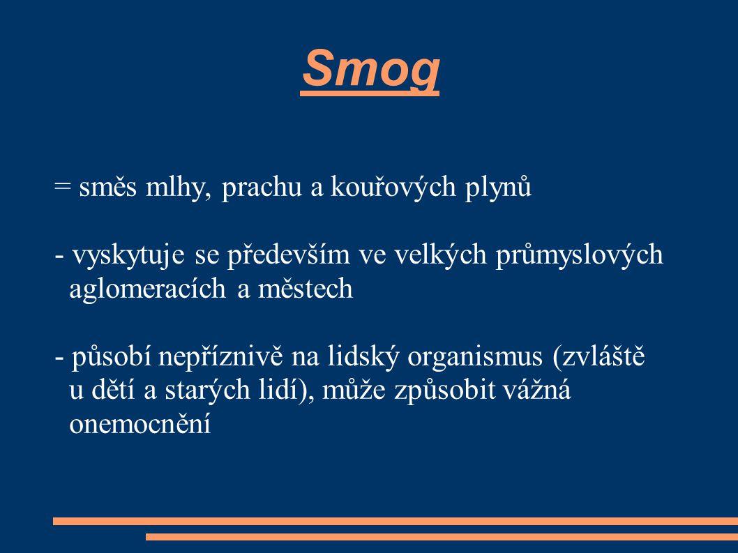 Smog = směs mlhy, prachu a kouřových plynů