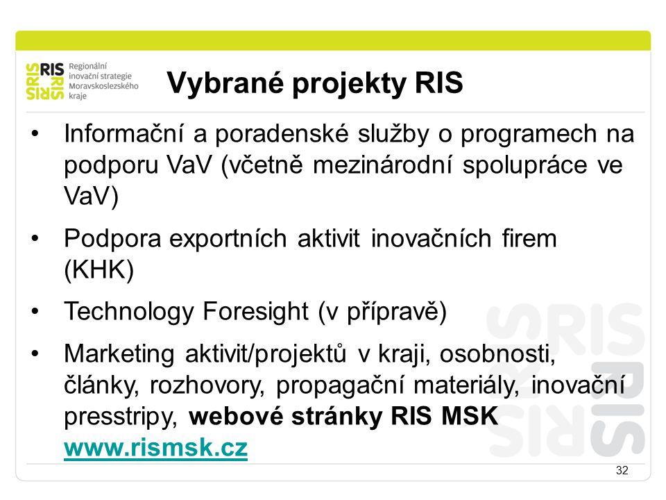 Vybrané projekty RIS Informační a poradenské služby o programech na podporu VaV (včetně mezinárodní spolupráce ve VaV)