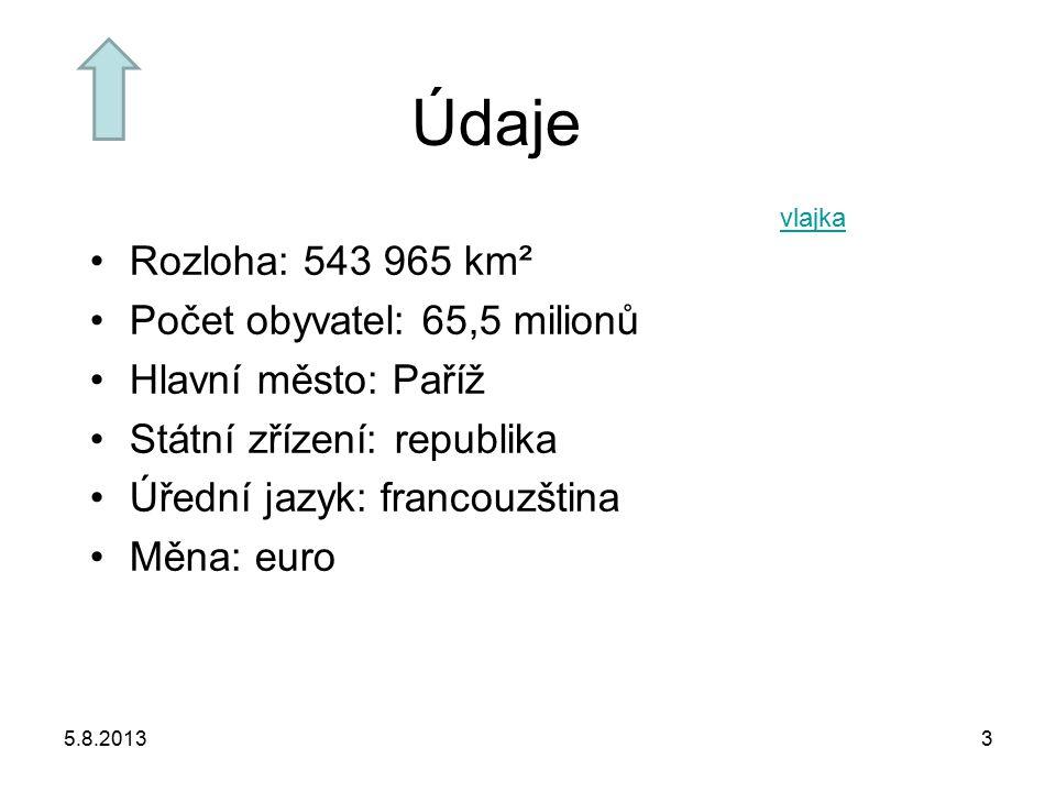 Údaje Rozloha: 543 965 km² Počet obyvatel: 65,5 milionů