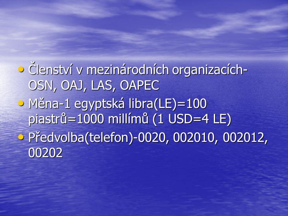 Členství v mezinárodních organizacích-OSN, OAJ, LAS, OAPEC
