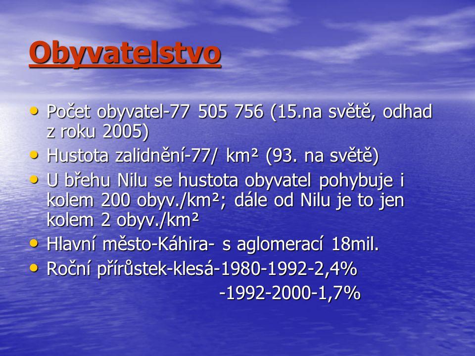 Obyvatelstvo Počet obyvatel-77 505 756 (15.na světě, odhad z roku 2005) Hustota zalidnění-77/ km² (93. na světě)