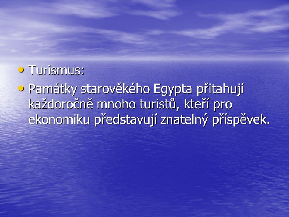 Turismus: Památky starověkého Egypta přitahují každoročně mnoho turistů, kteří pro ekonomiku představují znatelný příspěvek.