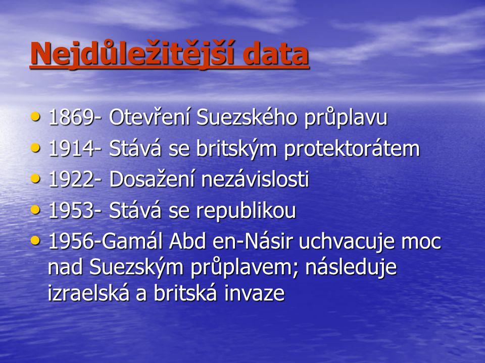 Nejdůležitější data 1869- Otevření Suezského průplavu