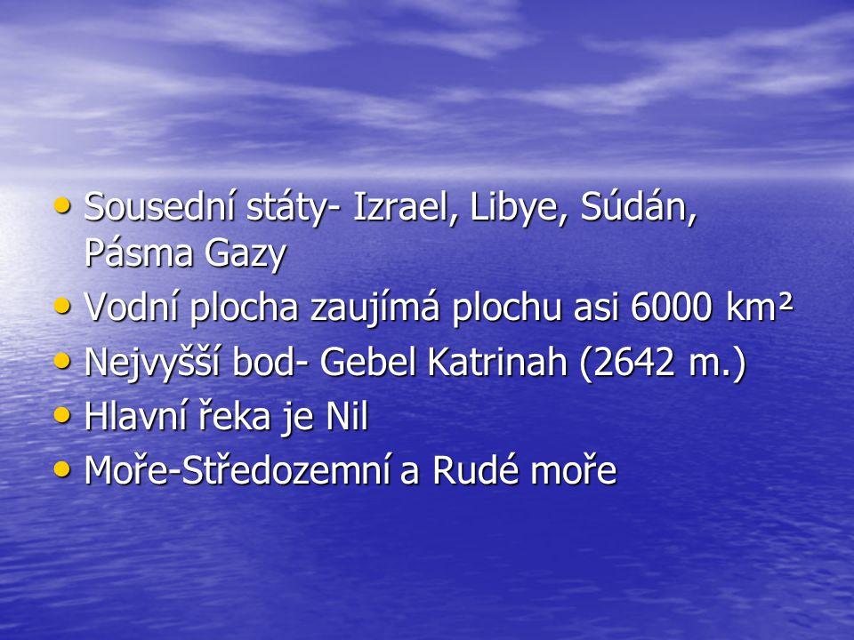 Sousední státy- Izrael, Libye, Súdán, Pásma Gazy