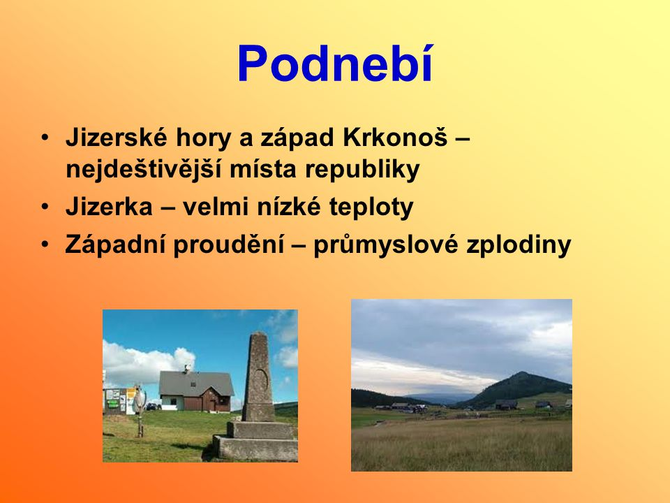 Podnebí Jizerské hory a západ Krkonoš – nejdeštivější místa republiky