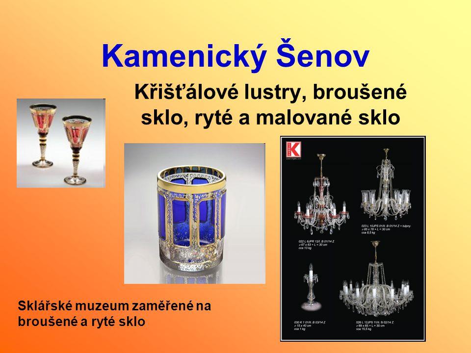Křišťálové lustry, broušené sklo, ryté a malované sklo