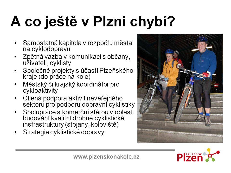 A co ještě v Plzni chybí Samostatná kapitola v rozpočtu města na cyklodopravu. Zpětná vazba v komunikaci s občany, uživateli, cyklisty.