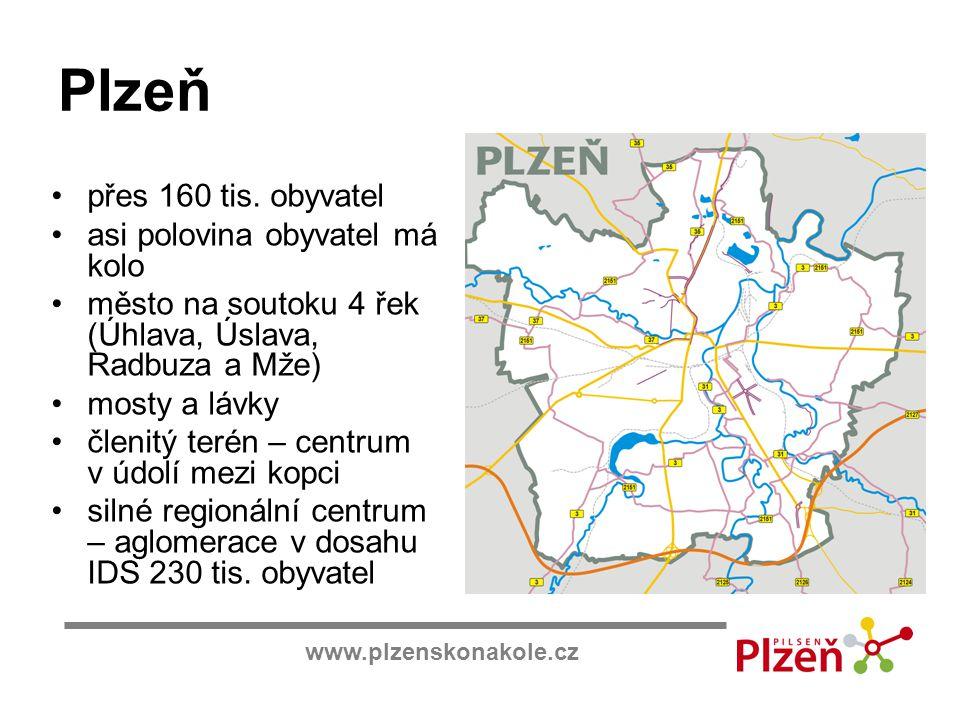 Plzeň přes 160 tis. obyvatel asi polovina obyvatel má kolo