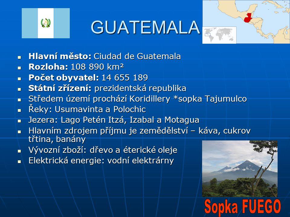 GUATEMALA Sopka FUEGO Hlavní město: Ciudad de Guatemala