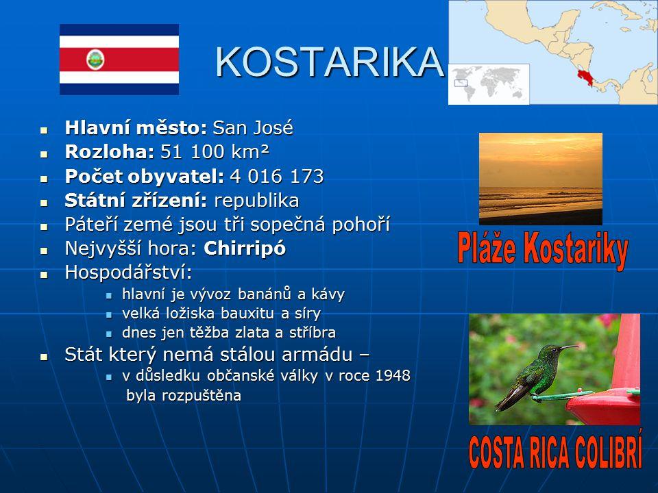 KOSTARIKA Pláže Kostariky COSTA RICA COLIBRÍ Hlavní město: San José
