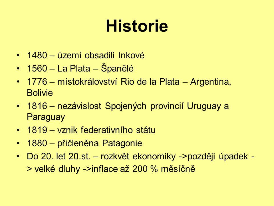 Historie 1480 – území obsadili Inkové 1560 – La Plata – Španělé