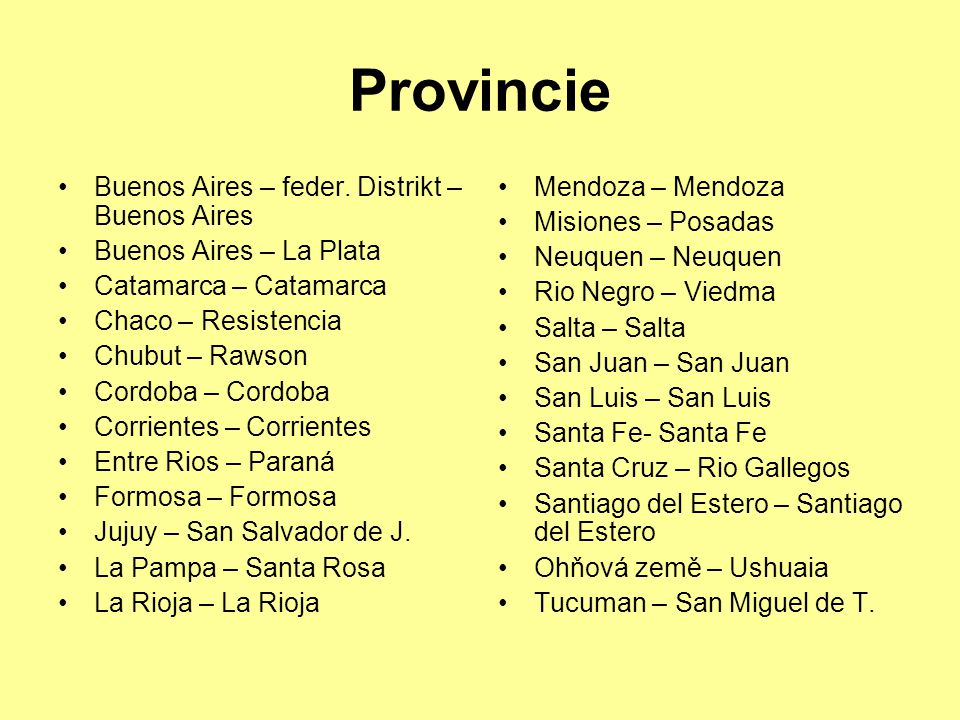 Provincie Buenos Aires – feder. Distrikt – Buenos Aires
