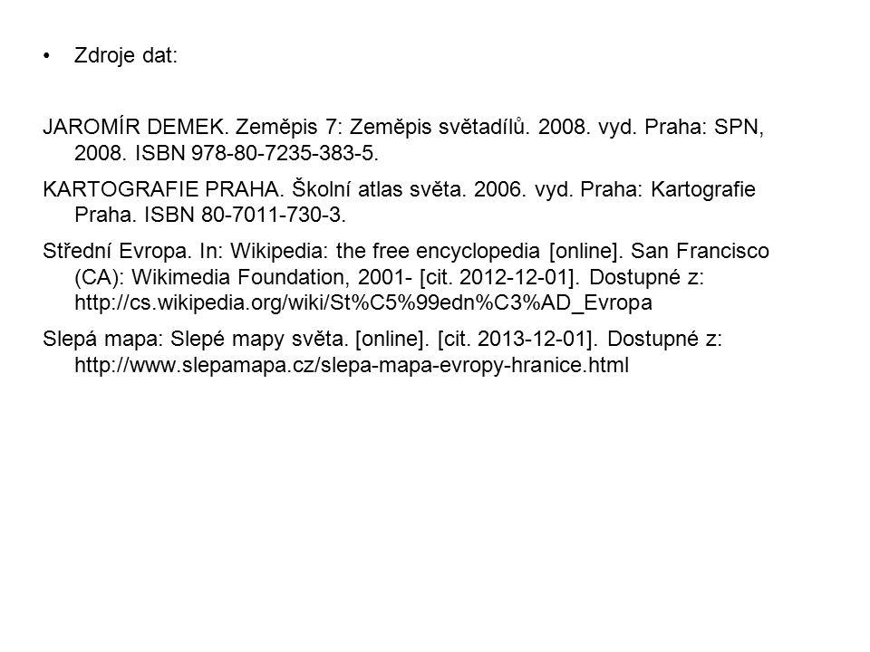 Zdroje dat: JAROMÍR DEMEK. Zeměpis 7: Zeměpis světadílů. 2008. vyd. Praha: SPN, 2008. ISBN 978-80-7235-383-5.