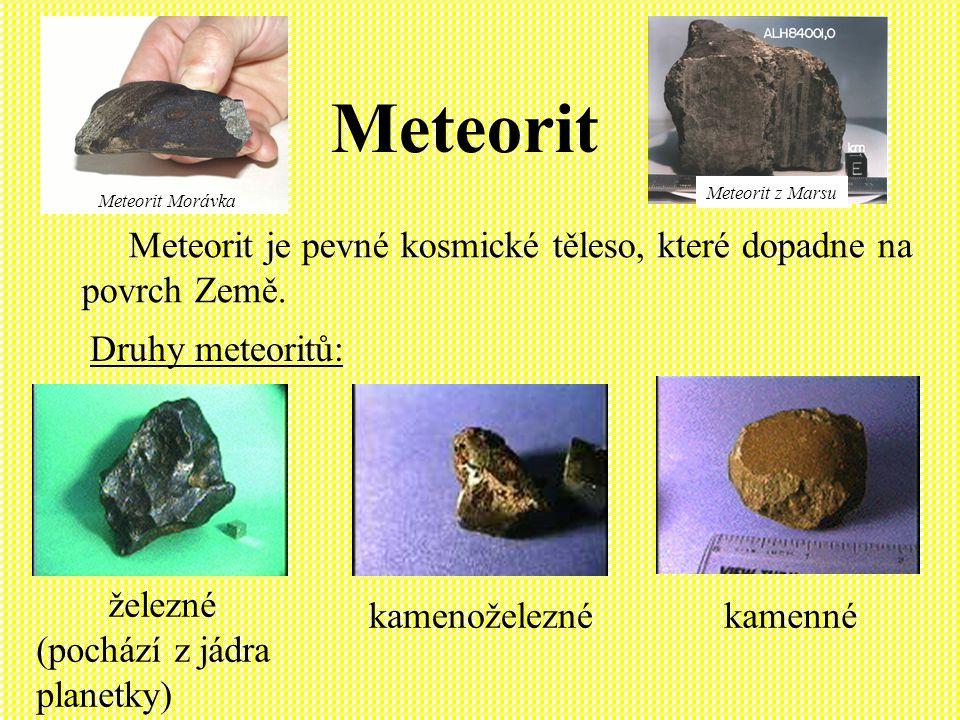 Meteorit Meteorit z Marsu. Meteorit Morávka. Meteorit je pevné kosmické těleso, které dopadne na povrch Země.
