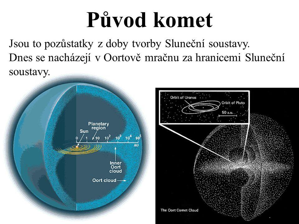 Původ komet Jsou to pozůstatky z doby tvorby Sluneční soustavy.