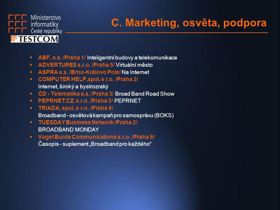 C. Marketing, osvěta, podpora