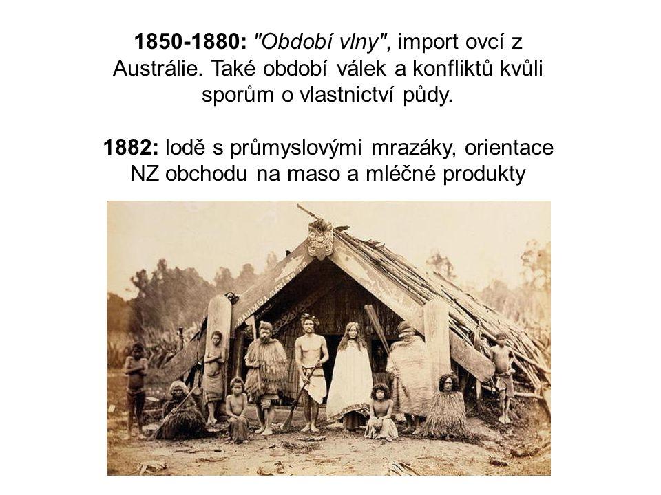 1850-1880: Období vlny , import ovcí z Austrálie