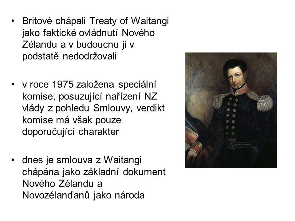 Britové chápali Treaty of Waitangi jako faktické ovládnutí Nového Zélandu a v budoucnu ji v podstatě nedodržovali