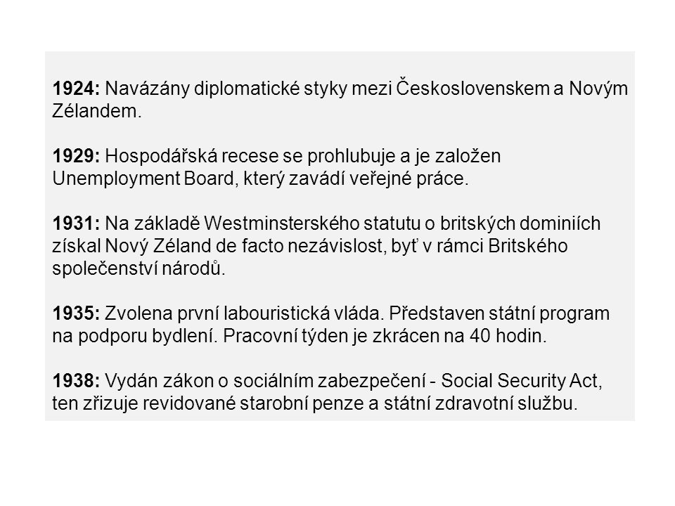 1924: Navázány diplomatické styky mezi Československem a Novým Zélandem.